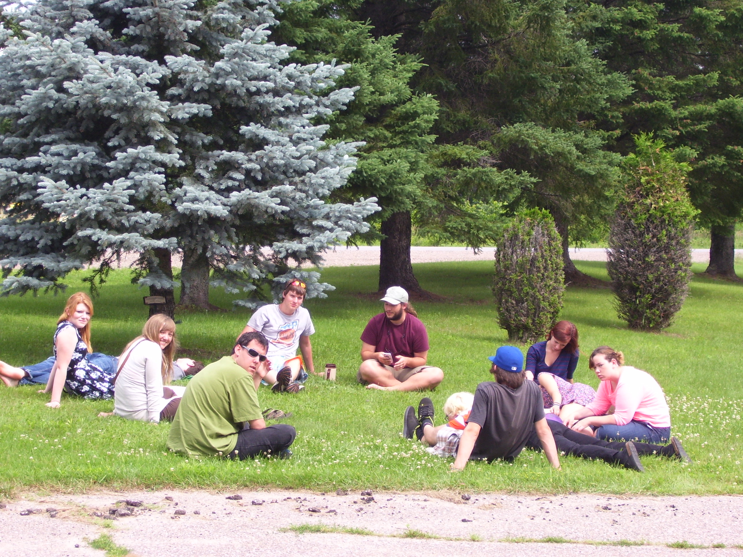 A group of young Adults from a Leadership Training camp nearby.