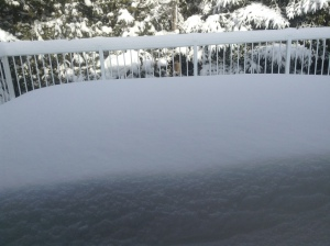 Snow on our back deck!