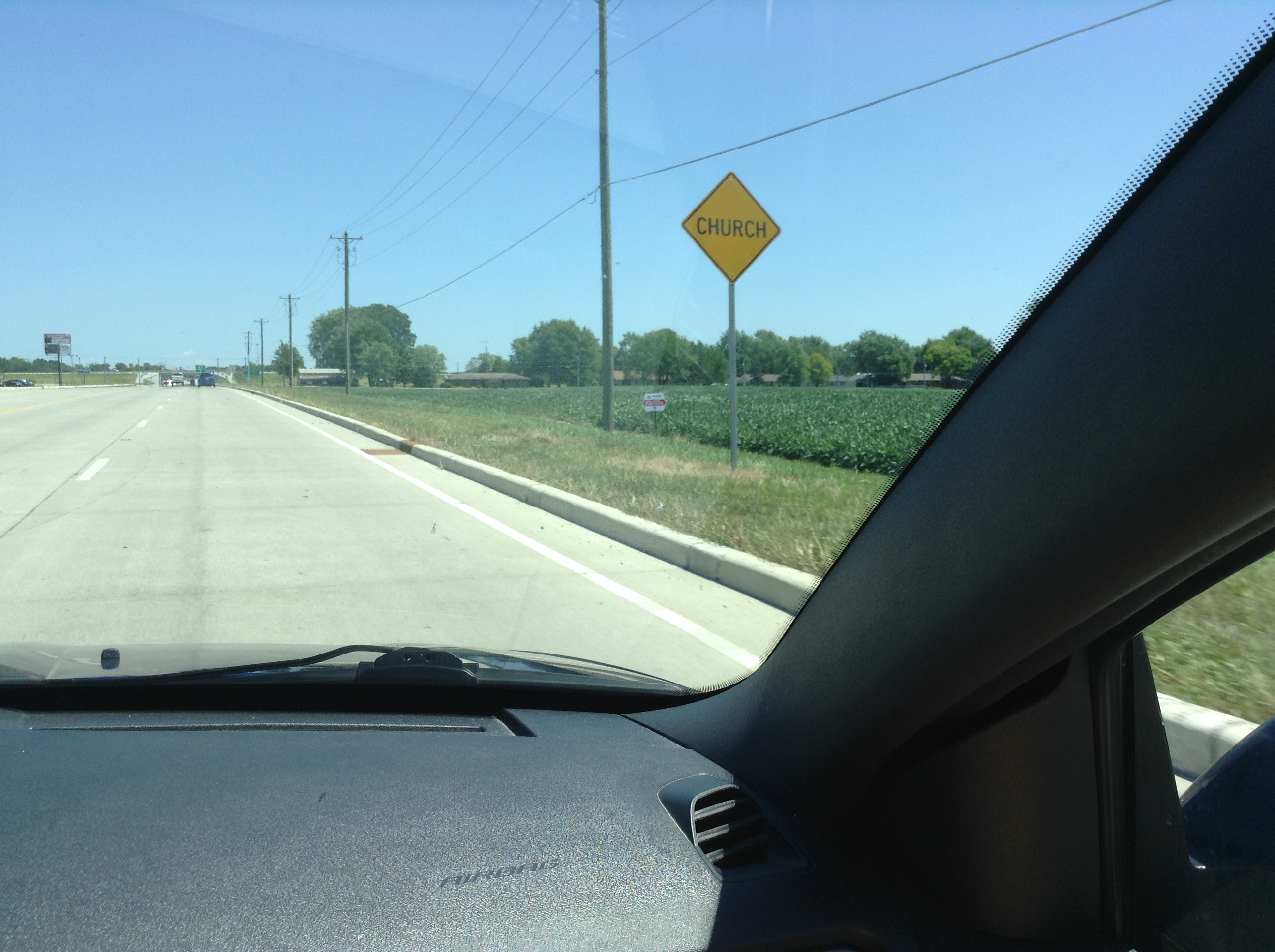 That's a Caution Sign!  Are they warning us there's a church?!!