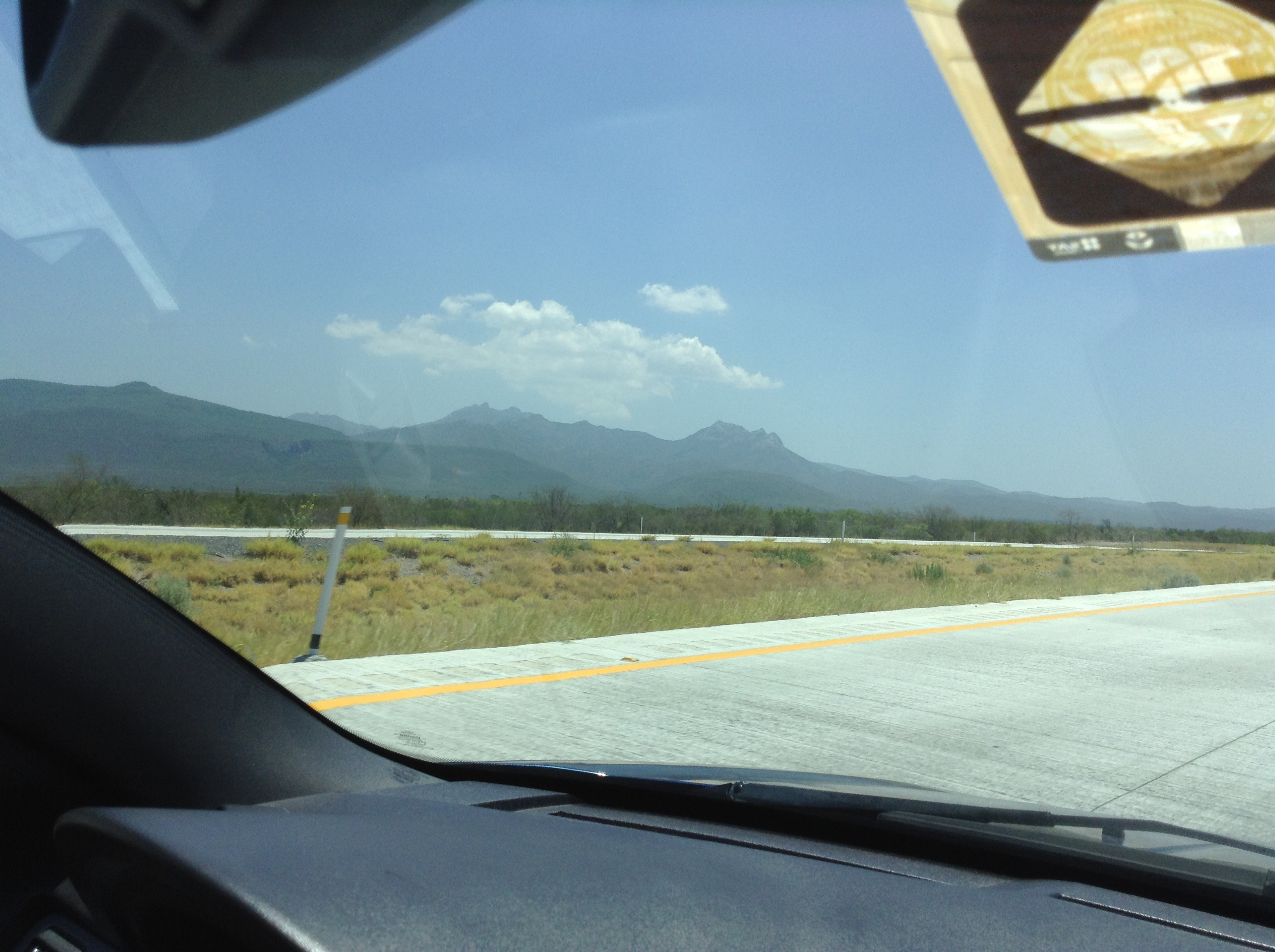 Hills/Mountains of Mexico - Oh! and that would be the important sticker in the front window we had to get at the border.