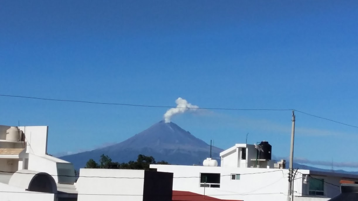 Volcano from our rooftop on a clear day