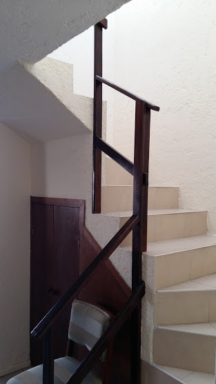 Staircase with storage beneath