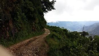 The road up the mountain was just about impossible in the car.