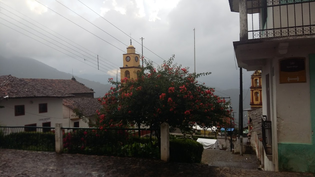 View after a hard rain in the town square of Xochitlan