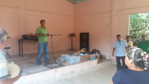 Church in Las Margaritas receiving food/supplies hamper