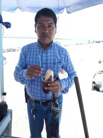 Pastor Bernardo enjoying his Respado (Ice Slushy)